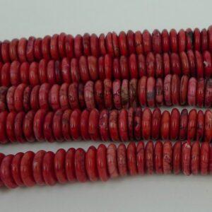 Flade, røde magnesit rondeller