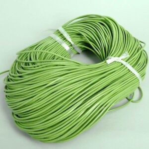 Lædersnøre grøn 2mm (pris pr. meter)