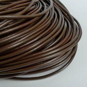 Lædersnøre brun 3mm (pris pr. meter)