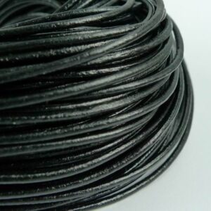 Lædersnøre sort 4mm (pris pr. meter)