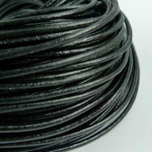 2.sort-Lædersnøre sort 5mm (pris pr. meter)