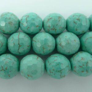 Facetteret, turkisfarvet magnesit 12mm