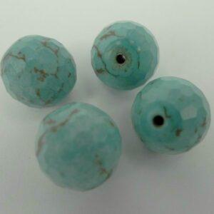 4 stk. Facetteret, turkisfarvet magnesit 12 mm