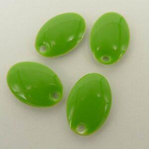 Ovale emaljevedhæng, limegrønne(4stk)