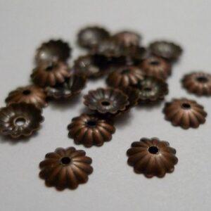Rillede kobberfarvede perlekapper 6mm(20stk)