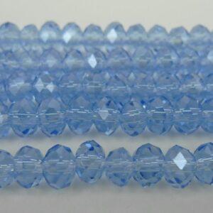 Facetterede krystalrondeller 4x6mm Lys blå