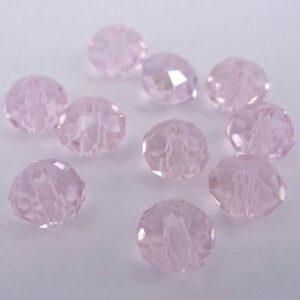 10stk Facetterede krystalrondeller 4x6mm Lys rosa
