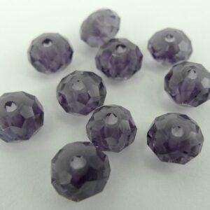 10stk Facetterede krystalrondeller 4x6mm Lilla