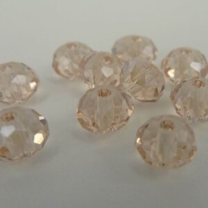 10stk Facetterede krystalrondeller 4x6mm Champagne