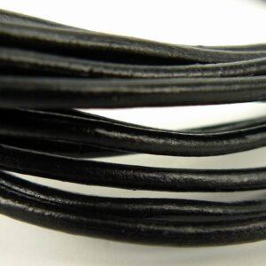 Lædersnøre sort 2½mm (pris pr. meter)