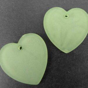 Hjerter i acryl Lysegrønne(10stk)
