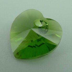 Swarovski hjerte, fern green (1stk)