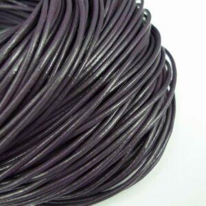 Lædersnøre mørk grå-lilla 2mm (pris pr. meter)