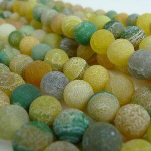 Gul/grønne agater, frostede 10mm