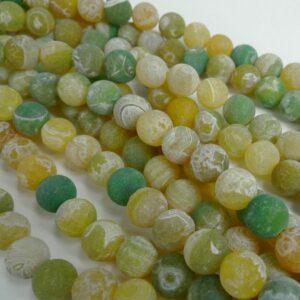 Gul/grønne agater, frostede 12mm