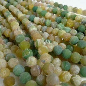 Gul/grønne agater, frostede 8mm