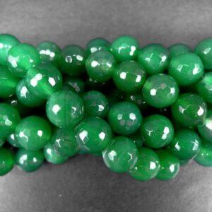 *Grøn agat, facetteret 10mm
