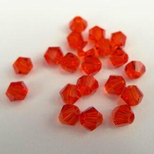 20stk Orange red bicone glasperler 4mm.