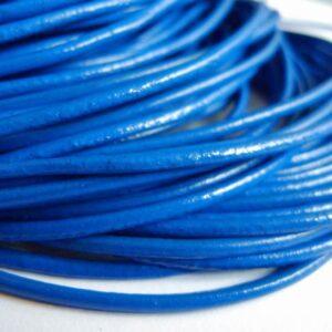5meter Lædersnøre mellemblå 2mm