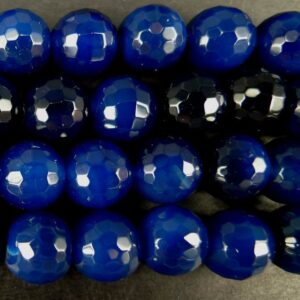 2.sortering- Mørkeblå agat, facetteret 10mm