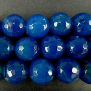 2.sortering- Mørkeblå agat, facetteret 12mm