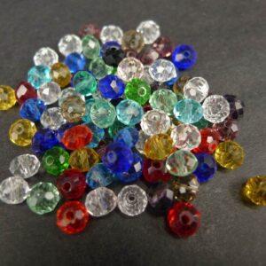 *4x6mm. Facetterede glasrondeller mixcolor