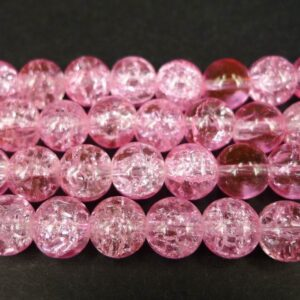 Krakelerede glasperler, Lyserøde 10 mm.