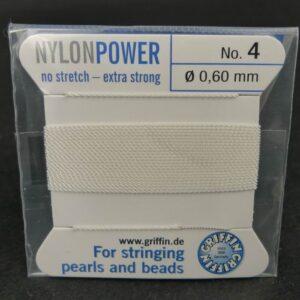 Hvid Perletråd med nål, 0,6mm