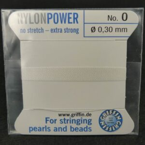 Hvid Perletråd med nål, 0,3mm