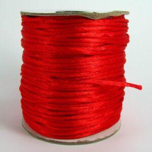 Rød satinsnor 2½mm(pris pr. meter) (knyttesnor)