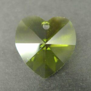 Swarovski hjerte, olivine 14mm(1stk)