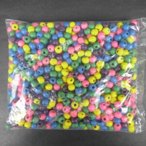 6mm Runde træperler, mixcolor