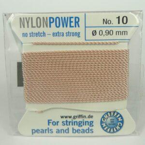 Lys rosa Perletråd med nål, 0,9mm
