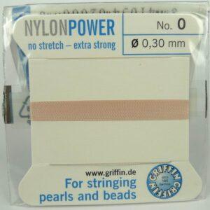Lys rosa Perletråd med nål, 0,3mm