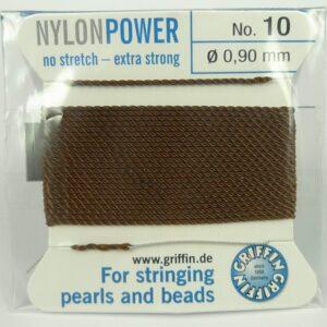 Brun Perletråd med nål, 0,9mm