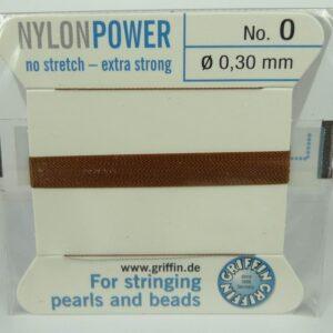 Brun Perletråd med nål, 0,3mm