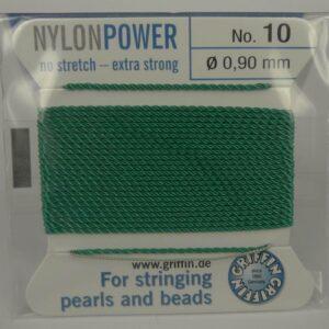 Grøn Perletråd med nål, 0,9mm