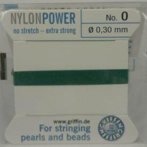 Grøn Perletråd med nål, 0,3mm