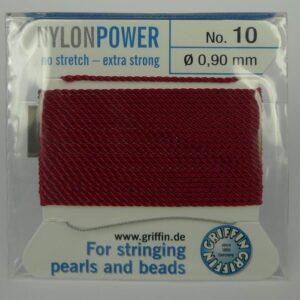 Granatrød Perletråd med nål, 0,9mm