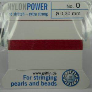 Granatrød Perletråd med nål, 0,3mm