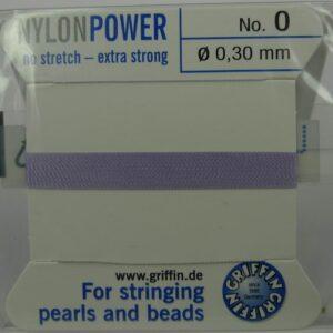 Lavendel Perletråd med nål, 0,3mm