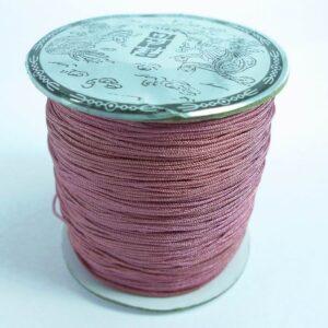 Nylon snøre grålig rosa, ca. 0,8mm.(pris pr. rulle)
