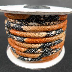 Orange/beige/sort imiteret lædersnøre, randsyet 4mm