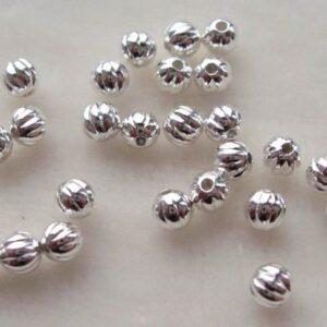 Forsølvede perler, rillede 3mm(30stk)