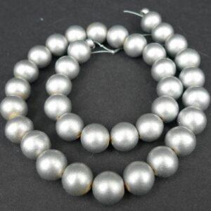 'Sølv' perler i træ 12mm