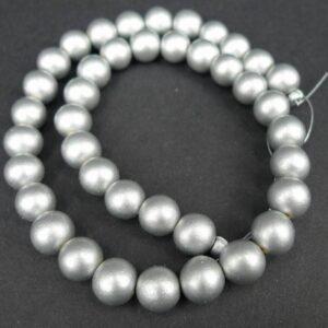 'Sølv' perler i træ 10mm