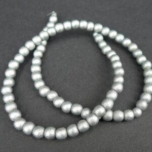 'Sølv' perler i træ 6mm