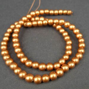 'Kobber' perler i træ 6mm