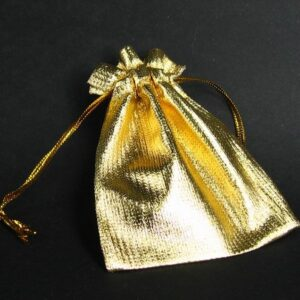 Lille guldfarvet smykkepose