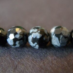 Snowflake obsidian, facetterede 6mm